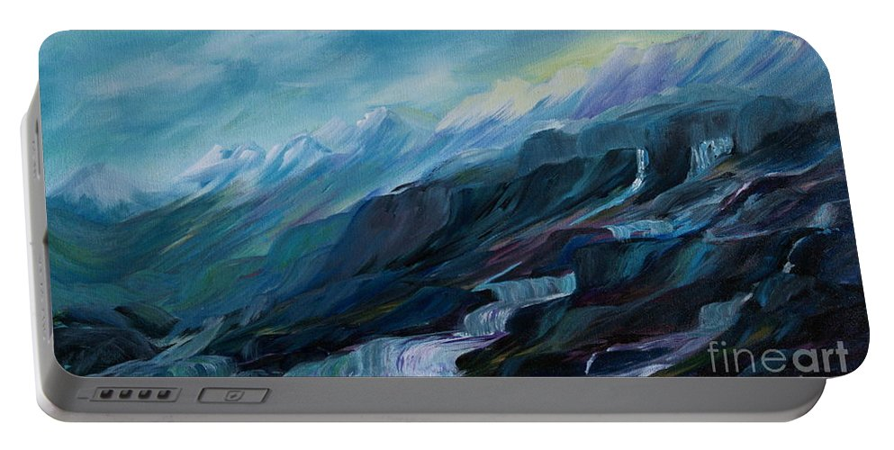 Spring Water Trickling Down Mountains Portable Battery Charger featuring the painting Spring Water by Joanne Smoley