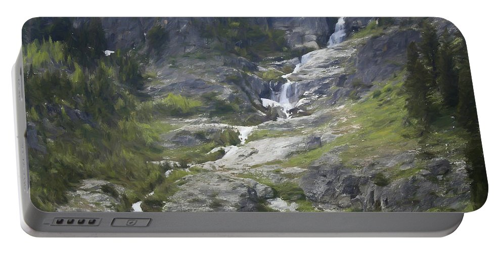 Spring Waterfall In The Tetons Portable Battery Charger featuring the painting Spring Waterfall In The Tetons by Dan Sproul
