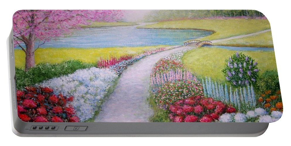 Landscape Portable Battery Charger featuring the painting Spring by William H RaVell III