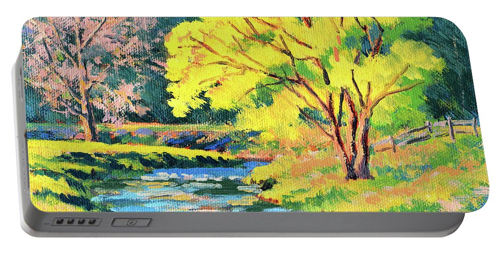 Impressionism Portable Battery Charger featuring the painting Spring Willow by Keith Burgess