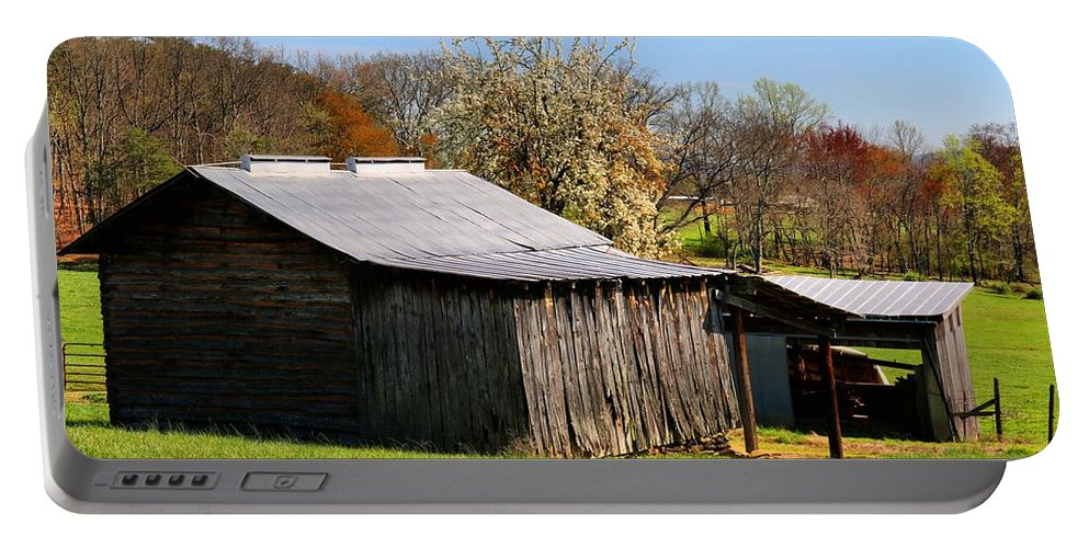 Barn Portable Battery Charger featuring the photograph Spring Woods And Barn by Kathryn Meyer