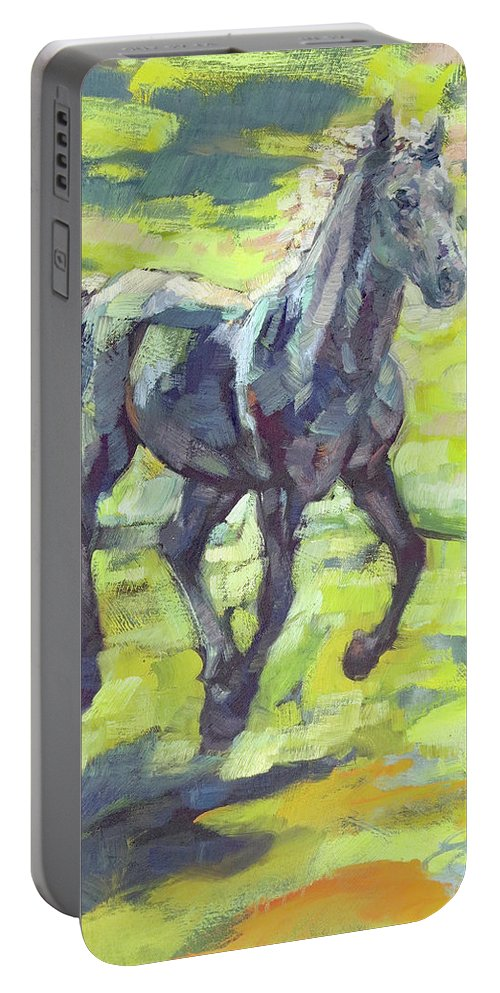 Horse Portable Battery Charger featuring the painting Springloaded by Lara Branca