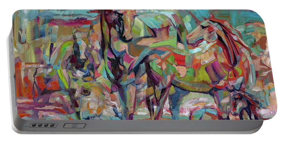 Horse Portable Battery Charger featuring the painting Springponies by Lara Branca