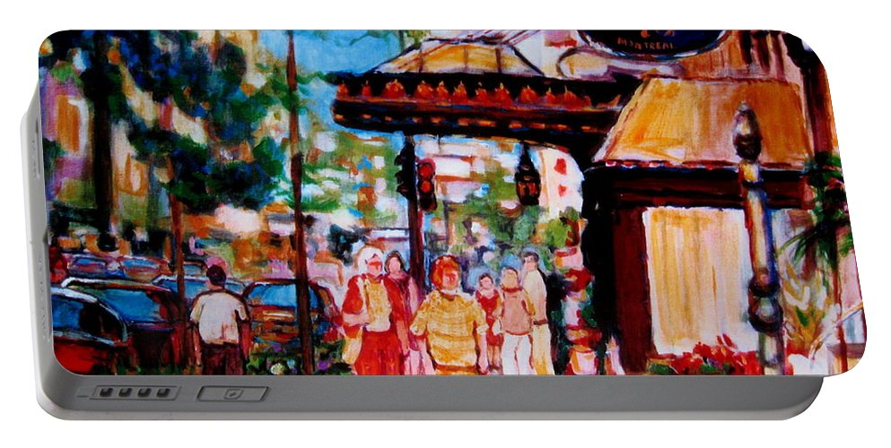 Montreal Streetscenes Portable Battery Charger featuring the painting Springtime At The Ritz by Carole Spandau