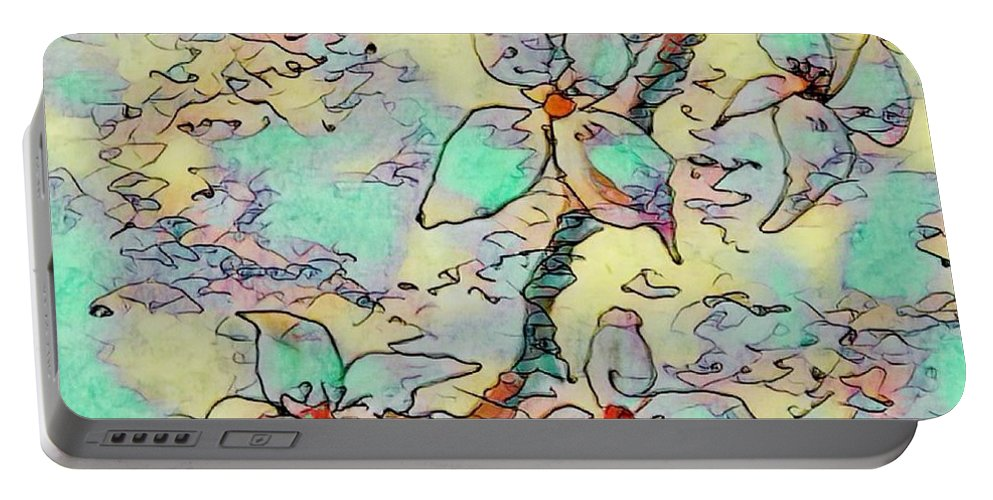 Abstracts Portable Battery Charger featuring the digital art Springtime Blossoms by Megan Walsh