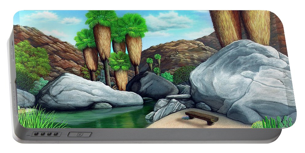 Landscape Portable Battery Charger featuring the painting Springtime In The Canyons by Snake Jagger