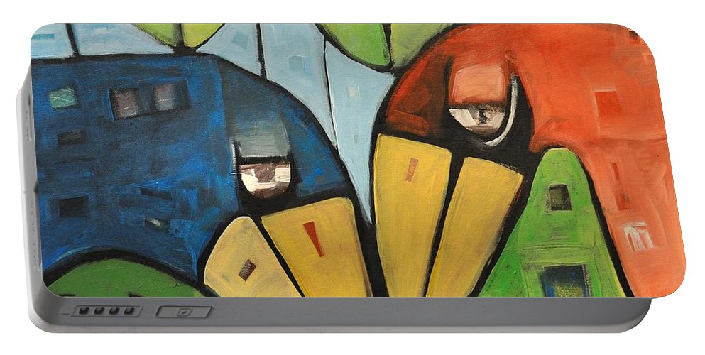 Birds Portable Battery Charger featuring the painting Springtime Lovebirds by Tim Nyberg