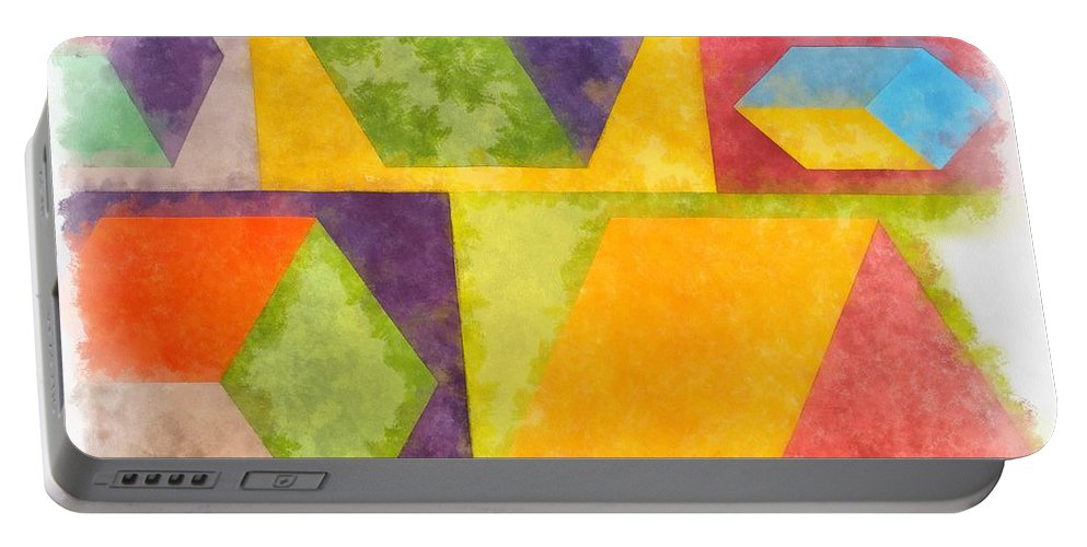 Painting Portable Battery Charger featuring the painting Square Cubes Abstract by Edward Fielding