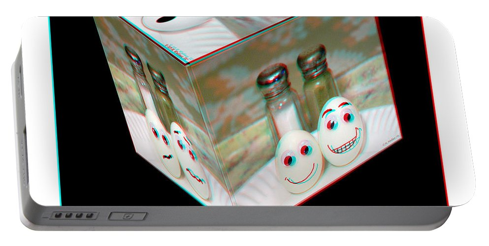 3d Portable Battery Charger featuring the photograph Square Meal - Use Red-cyan 3d Glasses by Brian Wallace