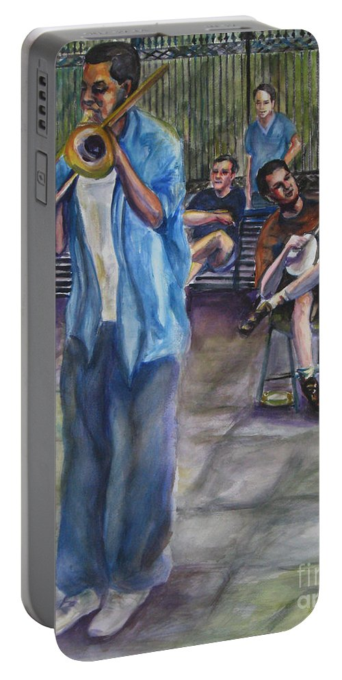 New Orleans Portable Battery Charger featuring the painting Square Slide by Beverly Boulet