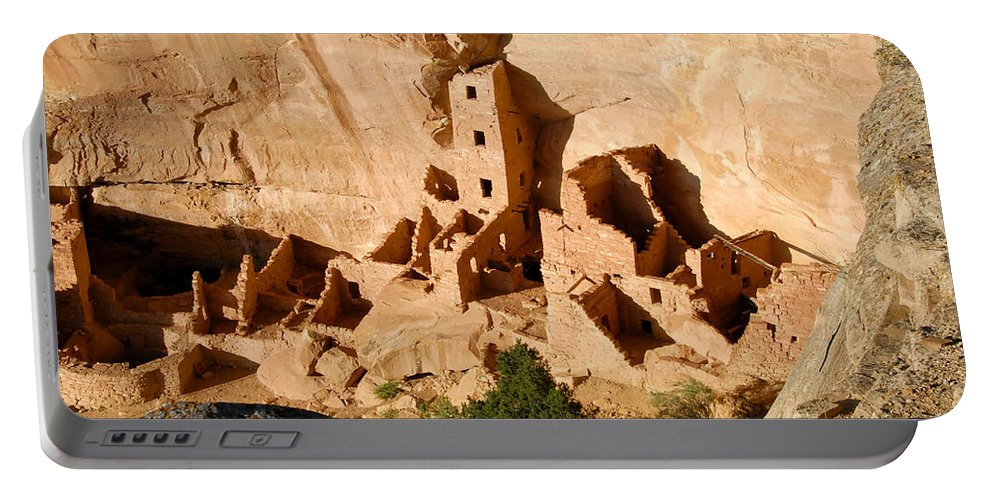 Square Tower Portable Battery Charger featuring the photograph Square Tower Ruin by David Lee Thompson
