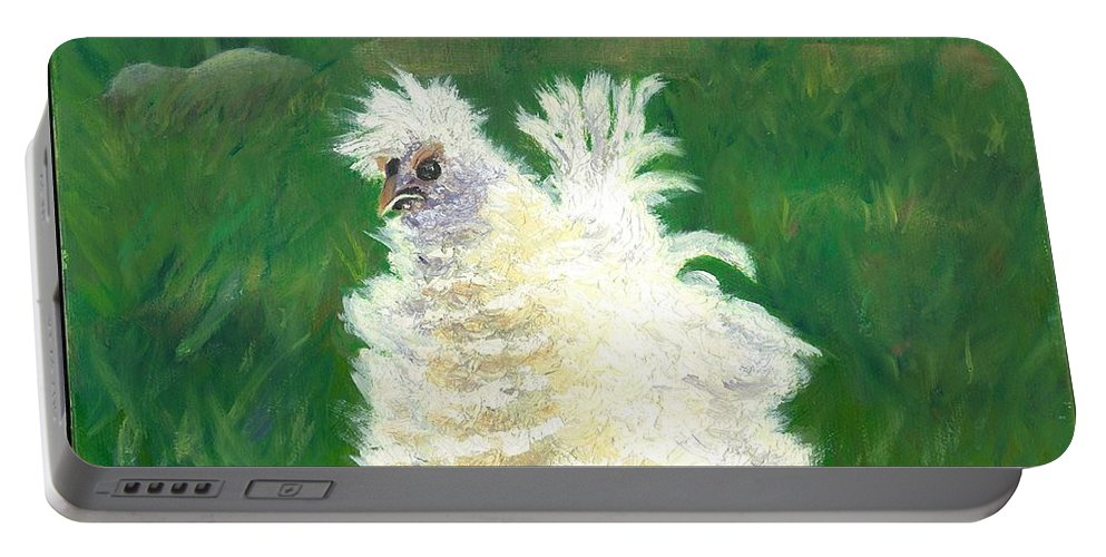 Bantam Frizzle Farmscene Chickens Hen Bird Nature Animals Spring Freerangers Portable Battery Charger featuring the painting Squiggle by Paula Emery