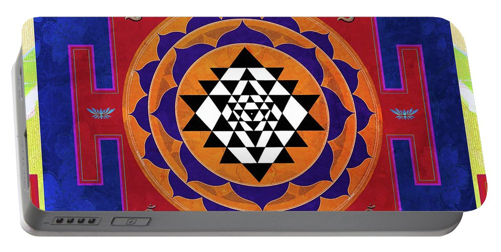 Sri Yantra Portable Battery Charger featuring the mixed media Sri Yantra by Sandra Petra Pintaric