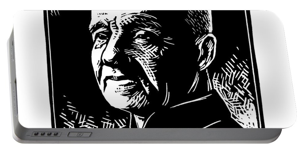 St. Andr� Bessette Portable Battery Charger featuring the painting St. Andre Bessette - Jlanb by Julie Lonneman
