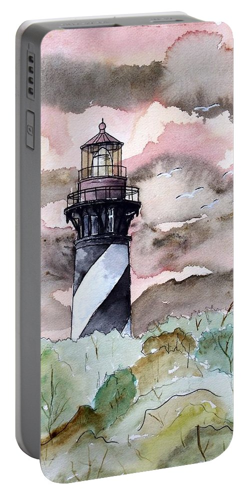 Lighthouse Portable Battery Charger featuring the painting St Augustine Lighthouse by Derek Mccrea