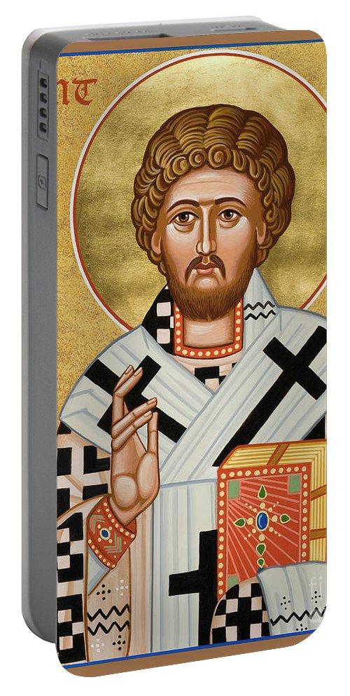 St. Boniface Of Germany Portable Battery Charger featuring the painting St. Boniface Of Germany - Jcbon by Joan Cole
