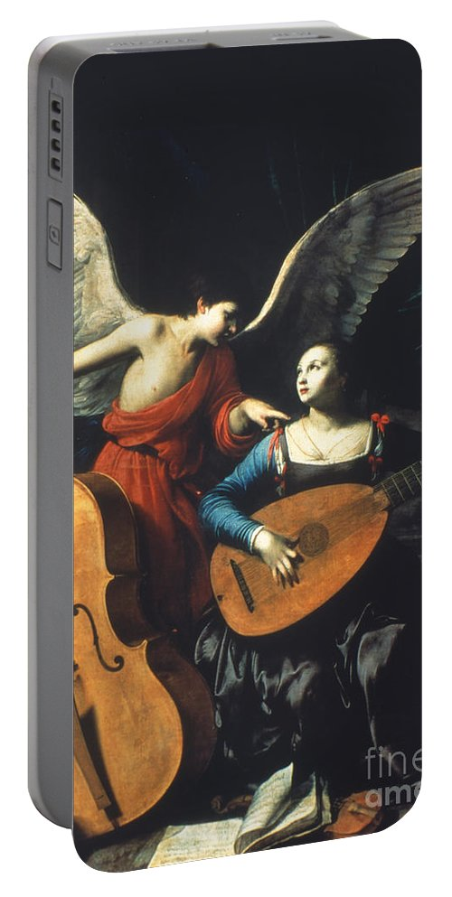 1600 Portable Battery Charger featuring the painting St. Cecilia And The Angel by Granger