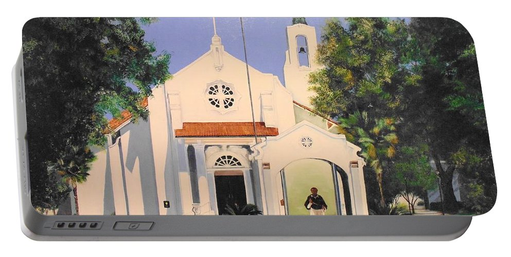 St. Charles Borromeo Church Portable Battery Charger featuring the painting St. Charles Borromeo Church by Stephen Broussard