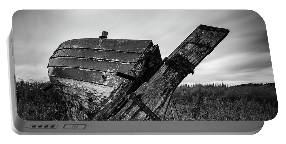 Fishing Boat Portable Battery Charger featuring the photograph St Cyrus Wreck by Dave Bowman