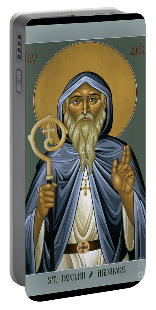 St. Declan Of Ardmore Portable Battery Charger featuring the painting St. Declan Of Ardmore - Rldoa by Br Robert Lentz OFM