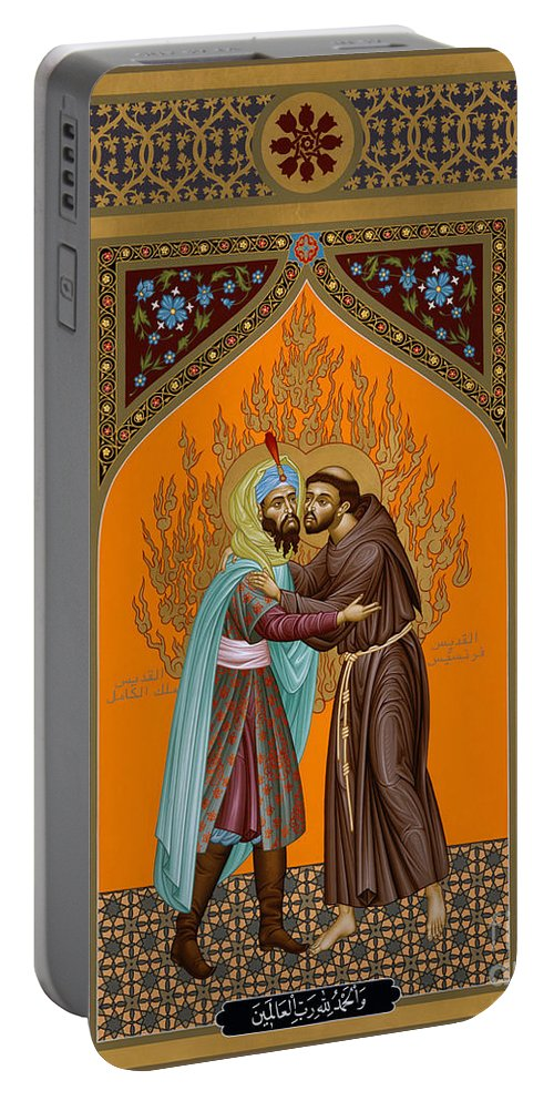 St. Francis And The Sultan Portable Battery Charger featuring the painting St. Francis And The Sultan - Rlsul by Br Robert Lentz OFM