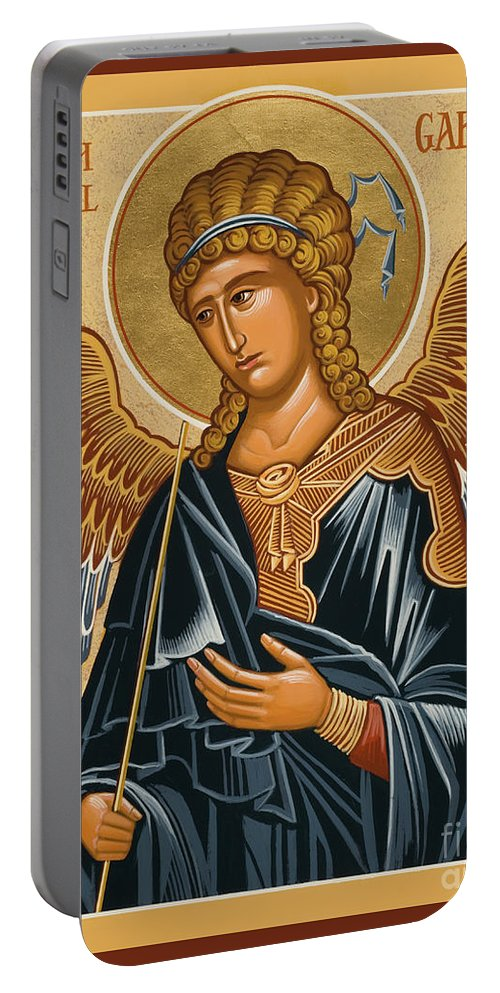 St. Gabriel Archangel Portable Battery Charger featuring the painting St. Gabriel Archangel - Jcarb by Joan Cole