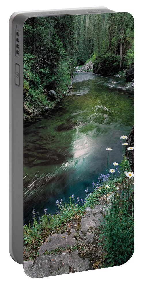 St Joe River Portable Battery Charger featuring the photograph St Joe River by Leland D Howard