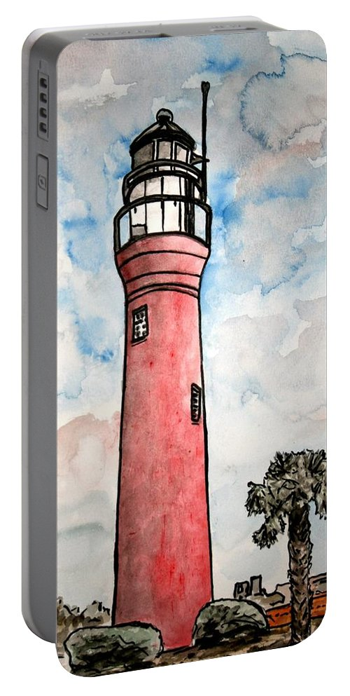 Lighthouse Portable Battery Charger featuring the painting St Johns River Lighthouse Florida by Derek Mccrea