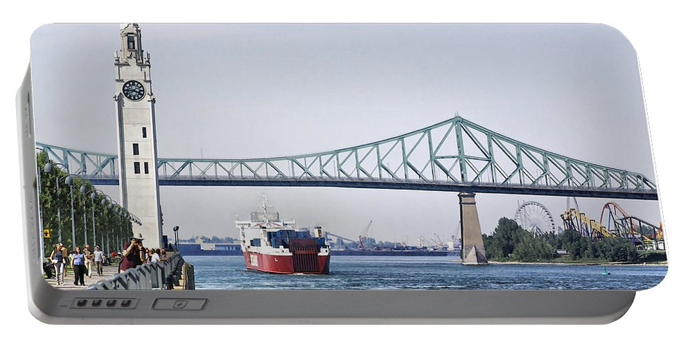 Portable Battery Charger featuring the photograph St Lawrence And Laronde by Deborah Benoit