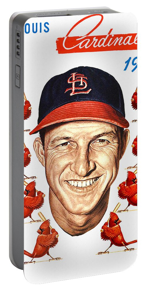 St. Louis Cardinals Portable Battery Charger featuring the painting St. Louis Cardinals 1953 Yearbook by John Farr