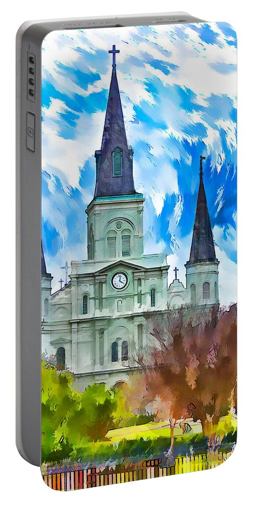 Ffrench Quarter Portable Battery Charger featuring the photograph St. Louis Cathedral - Paint by Steve Harrington