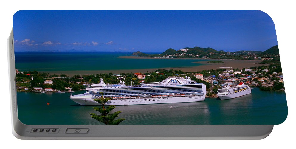 Cruise Ships Portable Battery Charger featuring the photograph St. Lucia Port by Gary Wonning