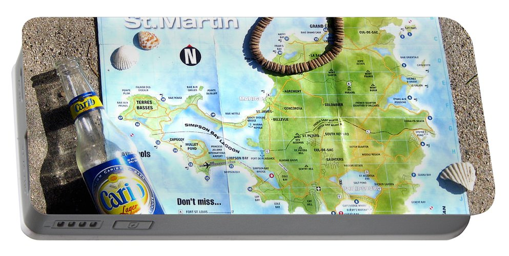 St. Martin Portable Battery Charger featuring the photograph St. Martin St. Maarten Map by Jerome Stumphauzer
