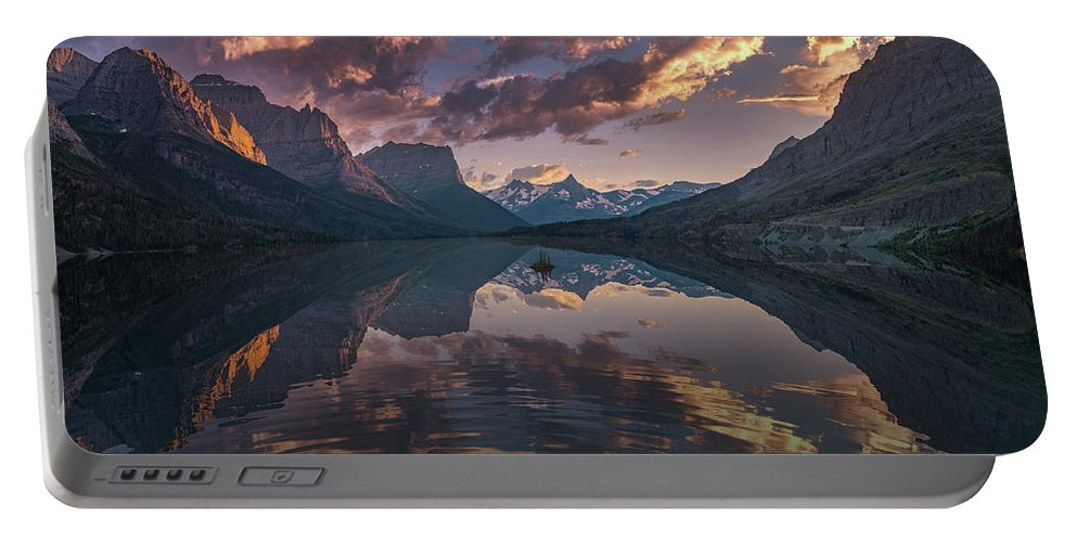America Portable Battery Charger featuring the photograph St Mary Lake At Dusk Panorama by William Freebilly photography