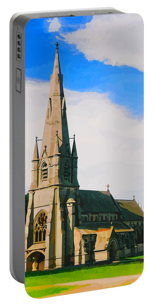Church Portable Battery Charger featuring the digital art St Mary's Church, Studley Royal by Brian Shaw