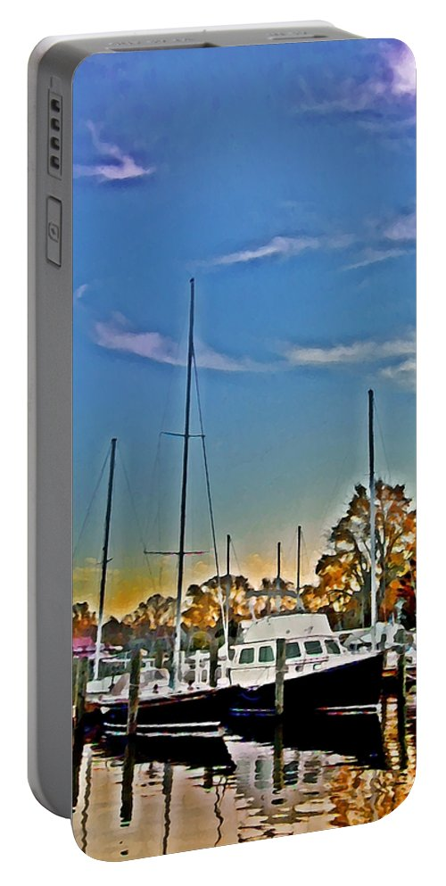 St. Michael's Portable Battery Charger featuring the photograph St. Michael's Marina On The Chesapeake by Bill Cannon