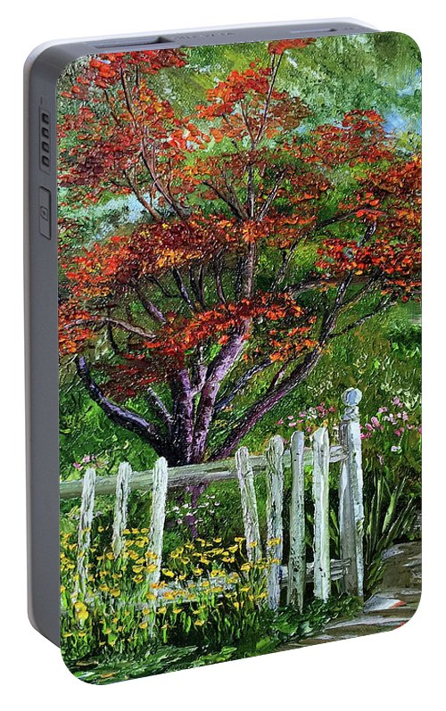 Landscape Portable Battery Charger featuring the painting St. Michael's Tree by Terry R MacDonald