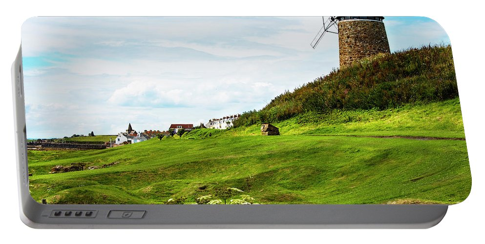 Windmill Portable Battery Charger featuring the photograph St Monans Windmill by MaryJane Armstrong