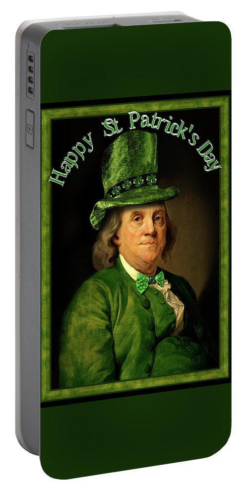 Ben Franklin Portable Battery Charger featuring the painting St Patrick's Day Ben Franklin by Gravityx9 Designs