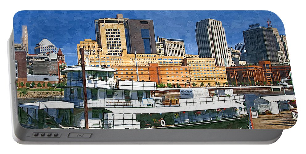 Boat Portable Battery Charger featuring the photograph St Paul On The Mississippi by Tom Reynen