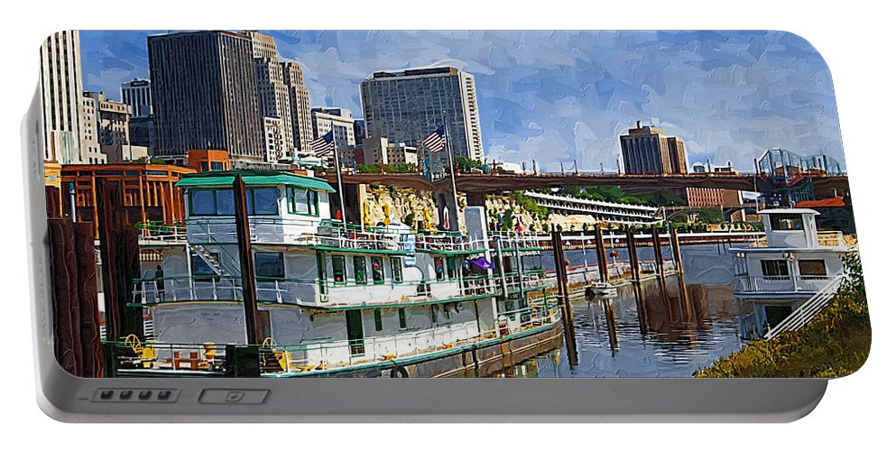 Tugboat Portable Battery Charger featuring the photograph St Paul Tugboat by Tom Reynen