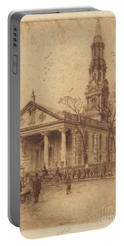 Portable Battery Charger featuring the drawing St. Paul's, Broadway, N.y. by Charles Frederick William Mielatz