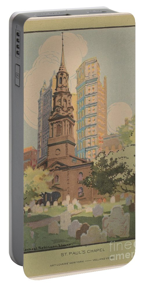 Portable Battery Charger featuring the drawing St. Paul's Chapel by Rachael Robinson Elmer