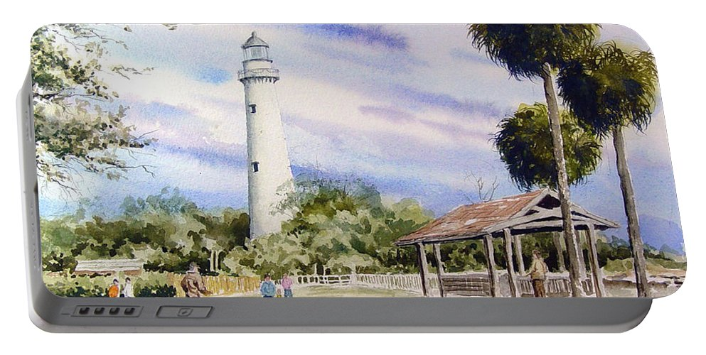 Lighthouse Portable Battery Charger featuring the painting St. Simons Island Lighthouse by Sam Sidders