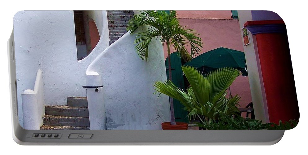 Architecture Portable Battery Charger featuring the photograph St. Thomas Courtyard by Debbi Granruth