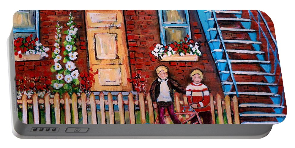 Montreal Neighborhoods Portable Battery Charger featuring the painting St. Urbain Street Boys by Carole Spandau