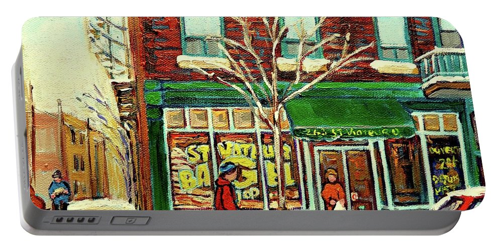 Montreal Portable Battery Charger featuring the painting St Viateur Bagel Shop Montreal by Carole Spandau