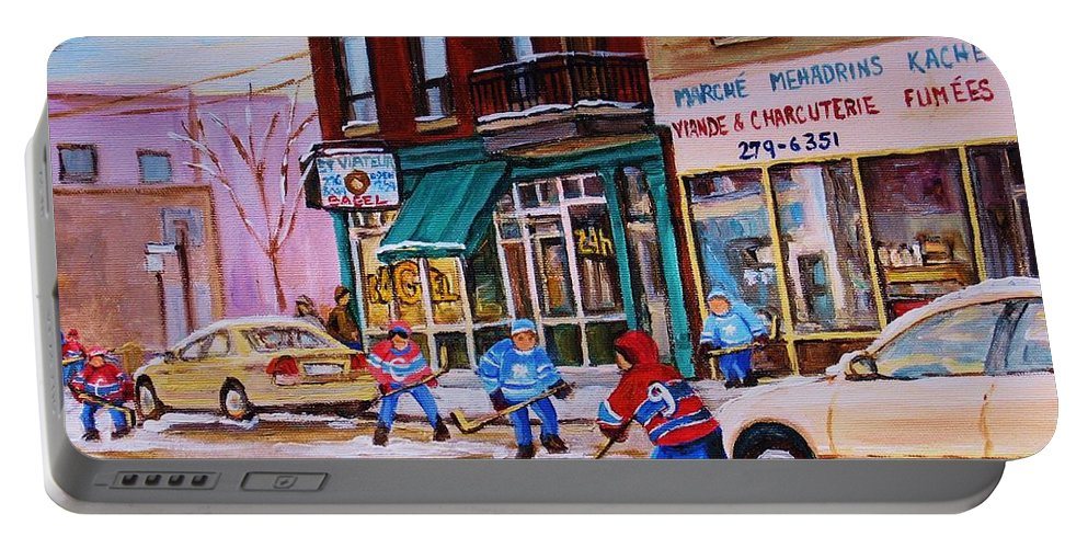 Montreal Portable Battery Charger featuring the painting St. Viateur Bagel With Boys Playing Hockey by Carole Spandau
