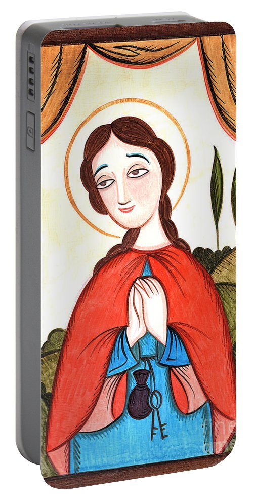 St. Zita Portable Battery Charger featuring the painting St. Zita - Aozit by Br Arturo Olivas OFS