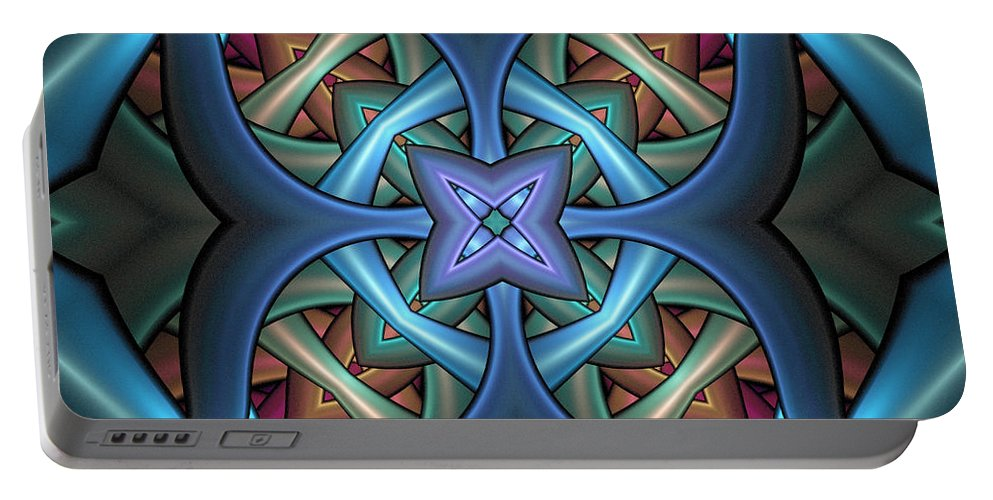 Digital Art Portable Battery Charger featuring the digital art Stacked Kaleidoscope by Amanda Moore